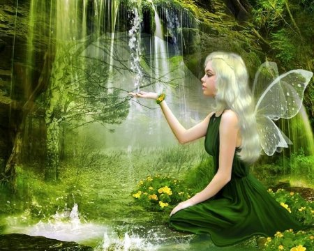 ~Green Fairy of Spring~ - faries, beautiful, digital art, woman, fantasy, green, photomanipulation, girls, wings, models, lovely, colors, love four seasons, creative pre-made, spring, waterfalls, weird things people wear