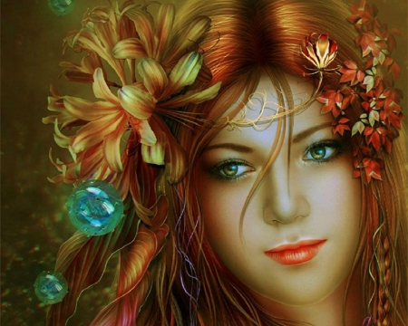 ~Silent Love~ - silent, redhead, beautiful, digital art, woman, fantasy, emotional, love, flowers, girls, models, lovely, colors, love four seasons, creative pre-made, mixed media, weird things people wear, beloved valentines