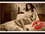 Eliza Dushku Postcard - Sepia Kiss Stamp Series
