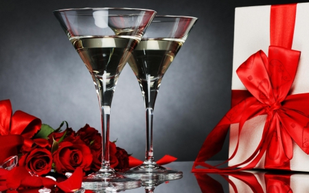 Together In L♥ve - red roses, present, holidays, celebration, love, together, champagne, new year