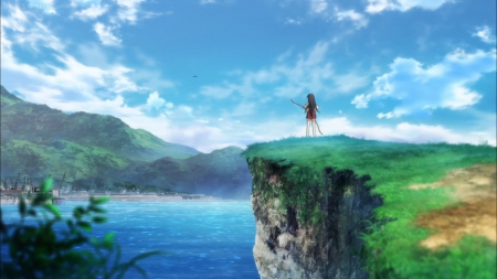 The View - pretty, kantai, sea, sweet, mountain, stand, nice, sku, anime, anime girl, scenery, female, cloud, kantai collection, lovely, akagi, water, girl, standing, scene