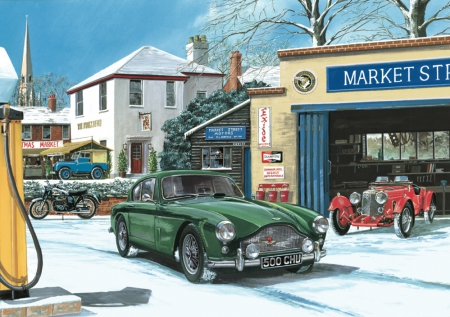 Market Street Motors - 1936 Riley, garage, aston martin DB2, motorbike, land rover, petrol, winter, snow, pumps, station
