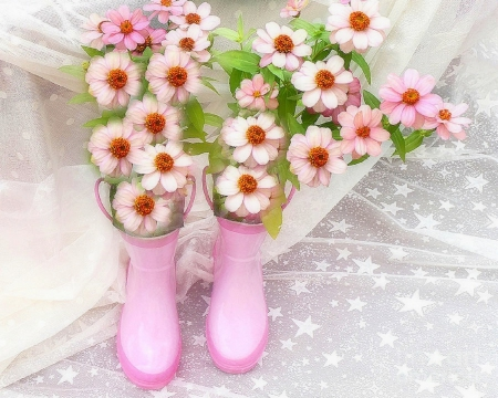 ♥Bloom with Pink Rain Boots♥ - pretty, chic, softness beauty, beautiful, sweet, Valentines, photography, love, pink, blooms, stars, rain boots, lovely, holiday, colors, love four seasons, beloved valentines