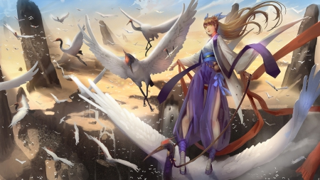 The cranes - art, bird, girl, anime, liu, crane, white wings, manga
