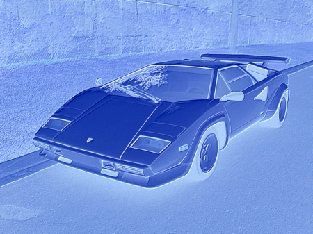 Lamborghini Countach night photograph - not for sale, rpms, flash, speed