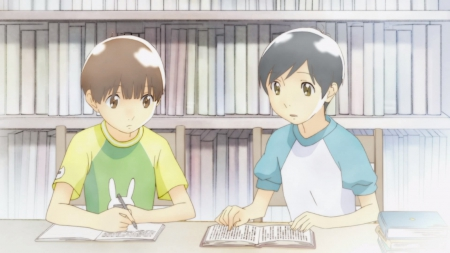 Study - pretty, guy, book, shuuichi nitori, read, sweet, hourou musuko, nice, library, anime, nitori, study, shirt, male, lovely, brown hair, shelf, bookshelf, short hair, cute, boy, kawaii, reading, wandering son, takatsuki