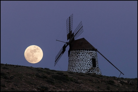 The Windmill's Moon - fun, cool, moon, wind mill, space