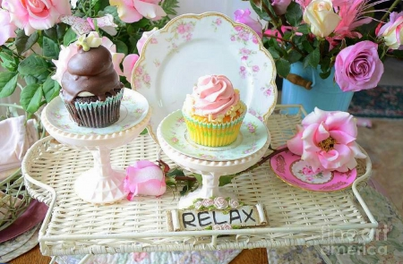 ★Relaxed Style Vintage★ - pretty, chocolate, softness beauty, beautiful, sweet, still life, Valentines, photography, love, pink, florals, vintage, lovely, romantic, holiday, colors, love four seasons, relaxed, cupcakes, beloved valentines