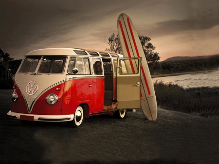 Volkswagen Bus Van Surf Surfboard Surfing Volkswagen