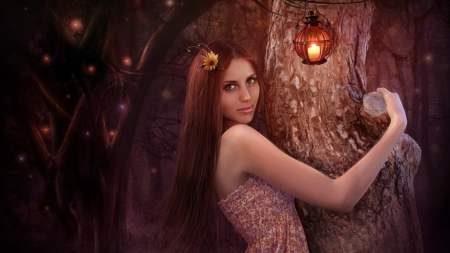 ❀ Magical Evening ❀ - fantasy, female, beauty, beautiful, woman, tree trunk, flower in hair