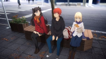 Shopping Break - saber, pretty, talking, adorable, eat, tohsaka rin, sweet, shirou, nice, fate stay night, shirou emiya, anime, anime girl, emiya shirou, long hair, rin tohsaka, female, lovely, food, emiya, cute, kawaii, girl, rin, talk, tohsaka, scene