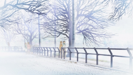 Winter Day - pretty, date, adorable, sweet, hourou musuko, nice, anime, nitori, anime girl, dating, street, female, lovely, winter, cute, tree, kawaii, girl, snow, walking, wandering son, white, branches, scene