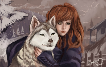 For Melissa - A JP Desu Speed-Painting - affection, wolf, girl, blue