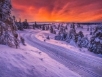 Sunset over Snow-Covered Winter Road