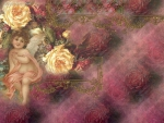 Vintage Roses and Cherub