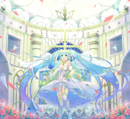 Light of the Symphony - pretty, adorable, magic, wing, sweet, nice, fantasy, anime, beauty, anime girl, vocaloids, long hair, wings, lovely, twintail, miku, sexy, smiling, happy, cute, hatsune, hatsune miku, beautiful, twin tail, gorgeous, vocaloid, female, angel, smile, twintails, twin tails, kawaii, girl, petals, miku hatsune, aqua hair