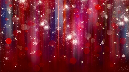 Glitter of Snowflakes - red, Christmas, New Years, glitter, shine, abstract, bokeh, Valentines Day, snow, snowflakes