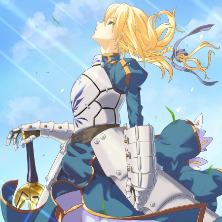 Saber - saber, pretty, dress, blond, flow, breeze, beautiful, sweet, nice, fate stay night, blade, anime, blowing, beauty, anime girl, weapon, long hair, sword, female, lovely, wind, sky, blond hair, armor, girl, flowing, windy, knight