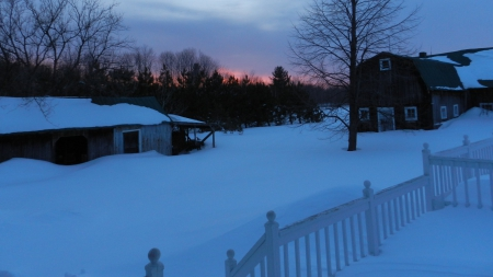 Sunset over Winter Landscape - snow, fences, sunsets, landscapes, houses, nature, winter