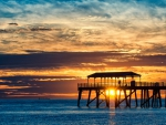 Sunset over Australian Ocean and Pier
