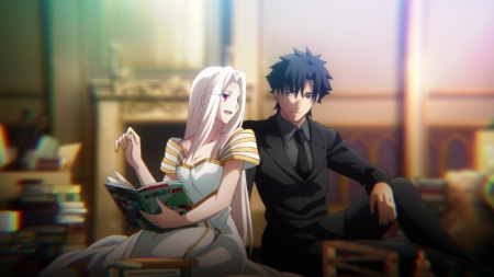 First Teaching - pretty, book, sweet, nice, love, anime, beauty, anime girl, long hair, lovely, romance, anime couple, emiya, happy, short hair, talk, lover, kiritsugu, guy, beautiful, talking, fate zero, fate stay night, black hair, couple, female, male, romantic, smile, boy, girl, kiritsugu emiya, silver hair, scene