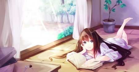 ~my lovely time with u~ - pretty eyes, original, lovely, cute girl, brown hair, book, breasts, anime, blue eyes, long hair