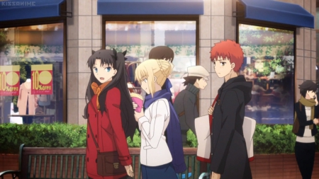 Fate Stay Shopping - pretty, adorable, tohsaka rin, sweet, nice, e, anime, anime girl, long hair, lovely, food, blonde, emiya, cute, talk, walking, eating, saber, blond, shopping, talking, eat, shirou, fate stay night, shirou emiya, emiya shirou, black hair, female, rin tohsaka, brown hair, blonde hair, blond hair, kawaii, girl, rin, tohsaka, walk, scene