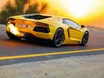 Lamborghini Burning up the Highway