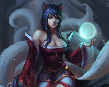 Ahri - dress, hd, kitsune, cg, tails, video game, game, lol, magic, league of legends, fantasy, hot, long hair, female, ears, sexy, girl, magical, sinister, ahri