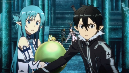 U Guard That - guy, angry, kirito, staircase, stair, scare, anime, yui, anime girl, long hair, couple, fairy, yuuki, female, male, elf, yuuki asuna, mad, sword art online, anime couple, armor, boy, sao, asuna yuuki, girl, asuna
