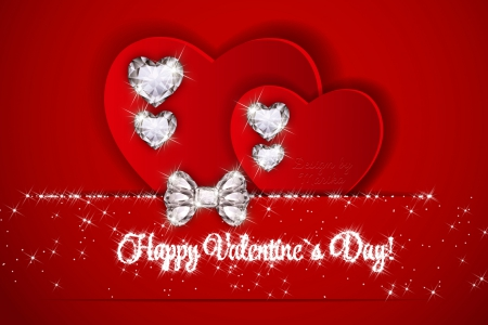 ♥ - valentines day, red, romantic, love, heart, bow, diamonds