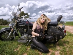 Model with Motorcycle