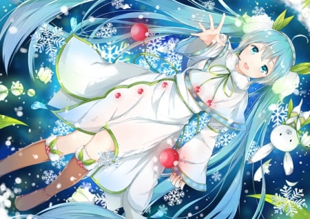 ~Yuki Miku~ - vocaloid, dress, hatsune miku, boots, yuki miku, winter, ponytails, blue hair, snowflakes, anime, bunny, blue eyes