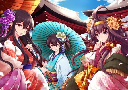 Kimono Collection - pretty, cg, umbrella, kantai, adorable, sweet, nice, japan, yukata, anime, beauty, anime girl, long hair, kaga, lovely, kantai collection, japanese, smiling, happy, cute, colorful, hd, colourful, beautiful, sublime, blossom, kongou, gorgeous, female, akagi, brown hair, smile, kimono, kawaii, girl, angelic
