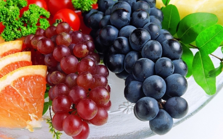 Fresh Fruits - grapes, leaves, photography, plate, lemon