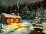 Cottage in snowy night
