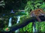 Artwork of Leopard in a Tropical Forest