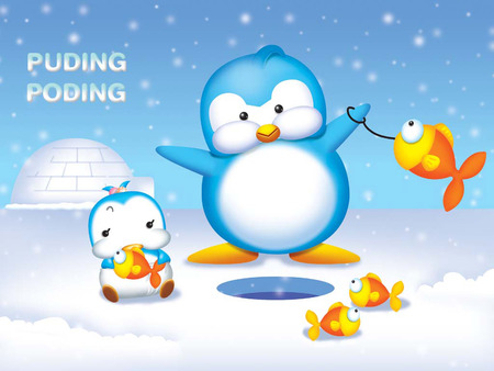 Ice Fishing - fishing, snow falling, ice, igloo, fish, penguins