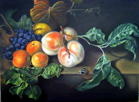 Autumn Still Life - fruit, grapes, art, still life, leaves, autumn colours, peaches