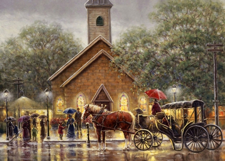 Rainy Sunday F2C - architecture, art, buggy, cityscape, equine, horse, artwork, painting, wide screen, nature, rain, scenery