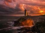 Lighthouse Sunset in Brittany, France