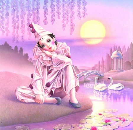 ★Pierrot & Swans★ - artistic, moons, pretty, lotus, lovely, romantic, colors, love four seasons, beautiful, swans, lotus pond, fantasy, love, weird things people wear, gazebo, pierrot