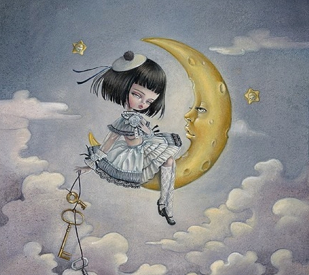 Moon Doll - moon, little, girl, child, dream, sky, doll, key