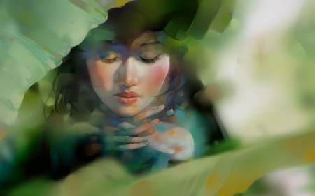 Foliage - art, leaf, melancholy, girl, green, painting, digital, xnhan00, Nguyen Thanh Nhan