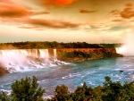 spectacular golden niagara falls hdr