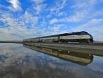 wonderful train and sky reflection