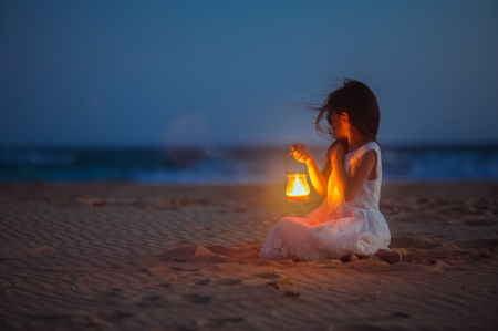 Wind of Changes  ♥ - candle, beach, sand, photography, lantern, girl, child, light