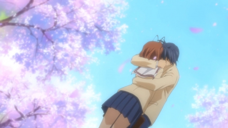 I'm Glad That I Meet U - pretty, furukawa, tomoya okazaki, adorable, clannad, furukawa nagisa, floral, cherry blossom, sweet, okazaki, blossom, nice, anime, tomoya, anime girl, couple, sakura, female, male, lovely, nagisa furukawa, anime couple, smiling, happy, hug, nagisa, cute, boy, kawaii, girl, flower, petals