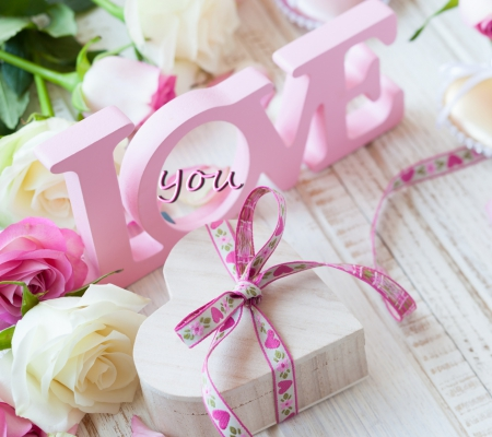 Love - love, flowers, box, roses, white, pink