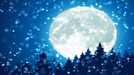 full moon on snowy night 3d and cg abstract background